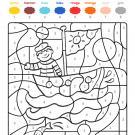 Coloriage magique en français: un marinero en su barco