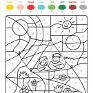 Coloriage magique en français: niños en una tienda de campaña