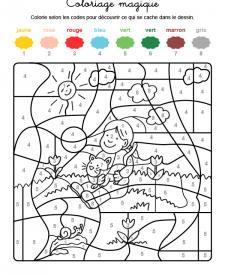 Coloriage magique en français: niña con un gatito en brazos