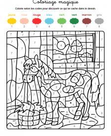 Coloriage magique en français: un caballo