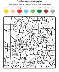 Coloriage magique en français: un niño y un perro jugando