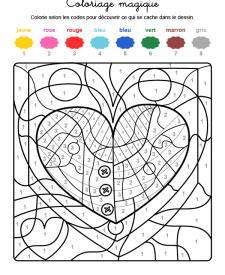 Coloriage magique en français: una ballena dentro de un corazón