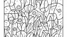 Coloriage magique en français: tulipanes en el campo
