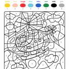 Coloriage magique en français: un helicóptero en el cielo