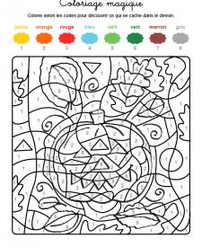 Coloriage magique en français: una calabaza de Halloween