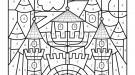 Coloriage magique en français: un castillo medieval