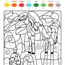Coloriage magique en français: un caballo en el campo