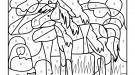 Coloriage magique en français: un caballo en el campo