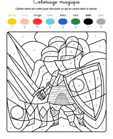 Coloriage magique en français: un caballero con armadura