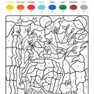 Coloriage magique en français: fantasma en el bosque