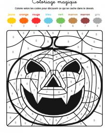 Coloriage magique en français: una supercalabaza de Halloween