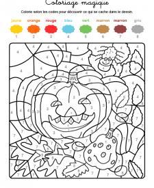 Coloriage magique en français: calabazas y araña