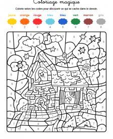 Coloriage magique en français: la casa de los fantasmas de Halloween