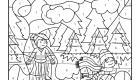 Coloriage magique en français: una pisa de hielo en la montaña