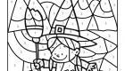 Coloriage magique en français: una brujita de Halloween