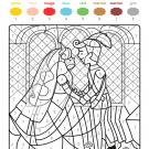Coloriage magique en français: la boda de los príncipes