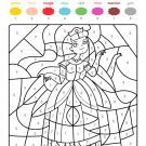 Coloriage magique en français: una princesa