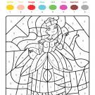 Coloriage magique en français: una princesa