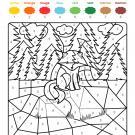 Coloriage magique en français: un zorro en el campo