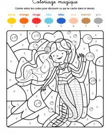 Coloriage magique en français: una sirena bajo el agua