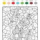 Coloriage magique en français: un ángel y una estrella de Navidad