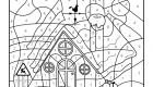 Coloriage magique en français: la casa de Papá Noel