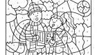 Coloriage magique en français: niños cantando en Navidad