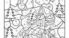 Coloriage magique en français: casas bajo la nieve