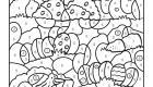 Coloriage magique en français: la caza de los huevos