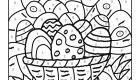 Coloriage magique en français: cesta de huevos de Pascua
