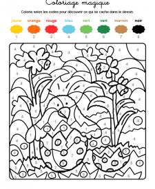 Coloriage magique en français: un polluelo saliendo del huevo