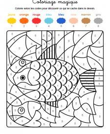 Coloriage magique en français: un pez de colores