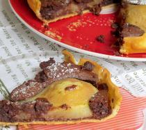 Receta de tarta de peras y chocolate