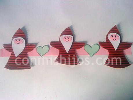 Guirnalda de Papá Noel. Manualidades de Navidad para niños