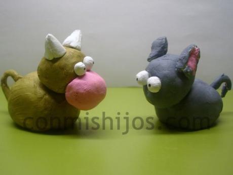 Figuras para Belén de plastilina. Buey y mula