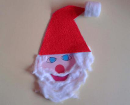 Cabeza de Papá Noel. Manualidades de Navidad para niños