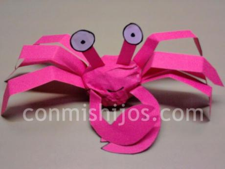 Cangrejo. Manualidades de cartulina para niños