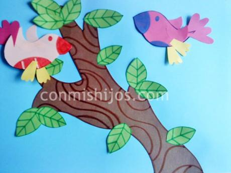 Aves tropicales, manualidad fácil con cartulina o papel