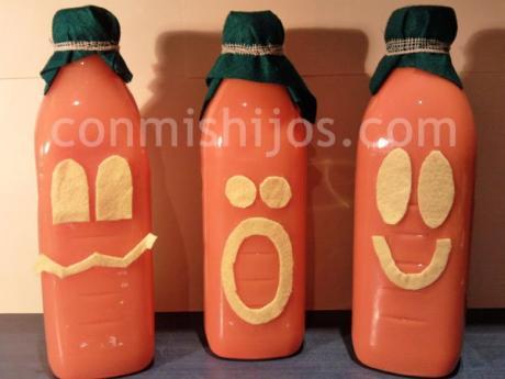 Botella calabaza. Manualidades de Halloween para niños