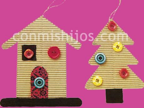 Adornos para el árbol de Navidad. Manualidades de cartón
