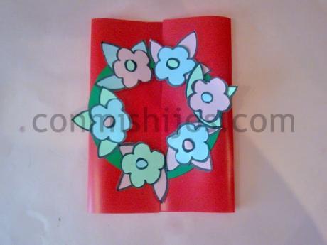 Tarjeta de flores. Manualidades de regalos para niños