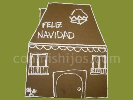 Tarjeta con una casita de navidad manualidades para ni os - Postales navidad hechas por ninos ...