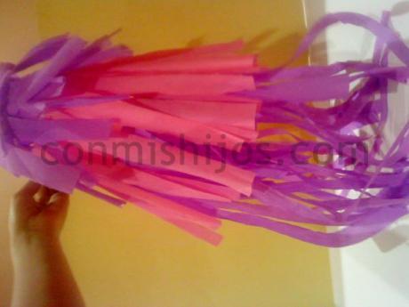 Peluca rosa. Manualidad de Carnaval para niños