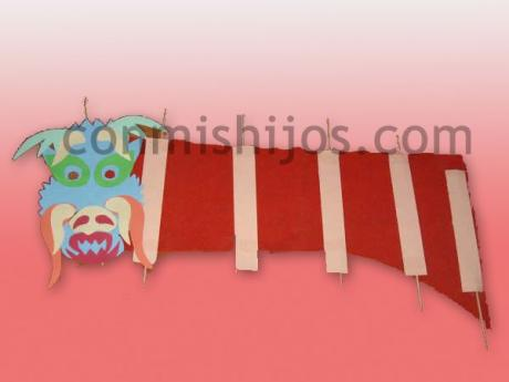 Marioneta de dragón chino. Manualidades para niños