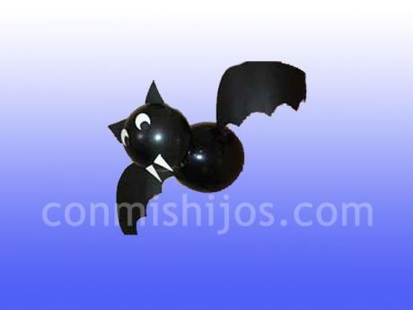 Murciélago de globos. Manualidades de Halloween