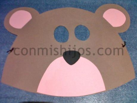 Antifaz de oso. Manualidad de Carnaval para hacer con niños