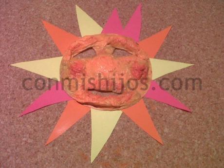 Careta de Sol. Manualidades para niños en Carnaval