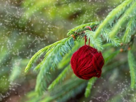 Bola de lana para el árbol de Navidad. Manualidades infantiles