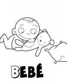 Bebé jugando con su osito de peluche. Dibujo para niños