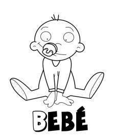 Bebé con chupete. Dibujos para colorear